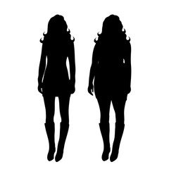 Vector silhouette of slim and fat woman on white background.