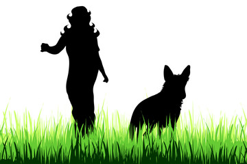 Vector silhouette of woman who walk with dog on the meadow.