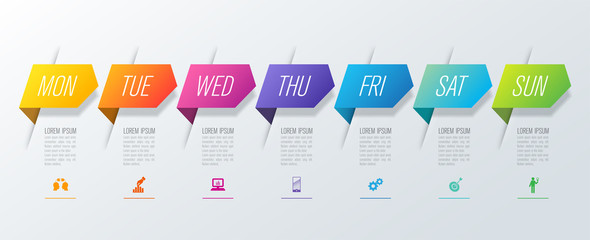 Weekly planner Monday - Sunday infographics design vector and marketing icons with 7 steps.