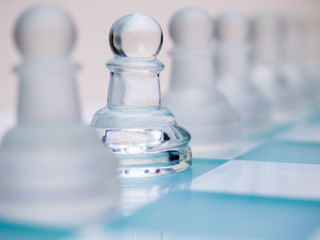 Glass Pawn Chess Piece, Selective Focus