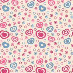 Seamless abstract pattern from hearts and circles.