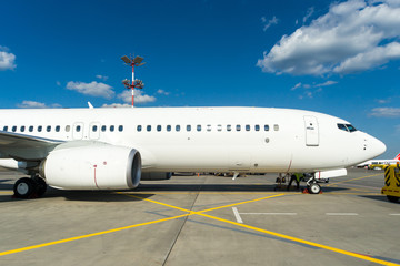 Moscow, Russia - August, 2018: Ground maintenance of Boeing 737 Nordwind airlines at Sheremetyevo international airport