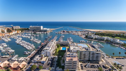 Aerial view of the bay of the marina, with luxury yachts in Vilamoura.