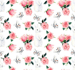 Pink roses & rabbit. Happy easter. Spring composition. Seamless pattern. Watercolor hand painting illustration