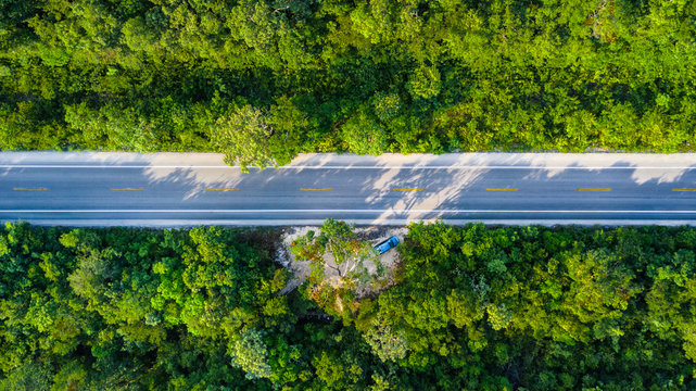 Drone view of the mayan jungle with a car parked along the crossing road in Tulum Mexico