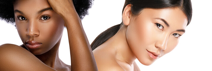 Beautiful African and Asian women on white background