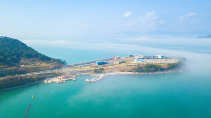 Aerial view of beautiful gulf in South Korea. Aerial view from drone.