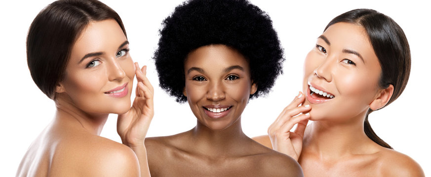 Different ethnicity women - Caucasian, African, Asian on white background