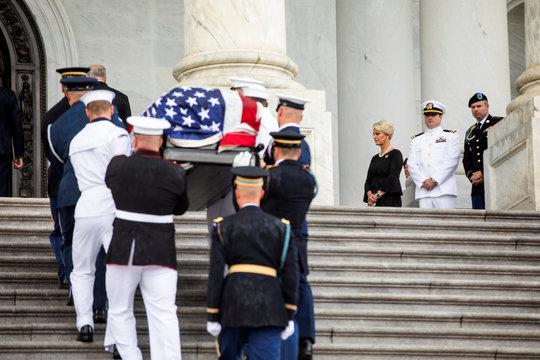 Senator John McCain lies in state at US Capitol