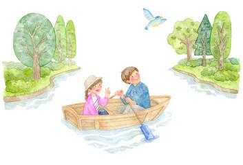 手漕ぎボートに乗るカップル