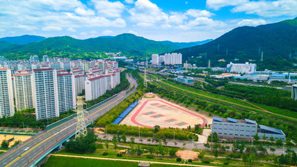 Aerial view of Yangsan city, South Korea. Aerial view from drone