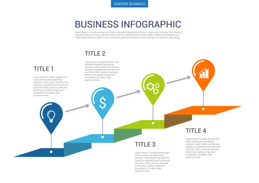 Infograhpic business presentation slide template with step process chart