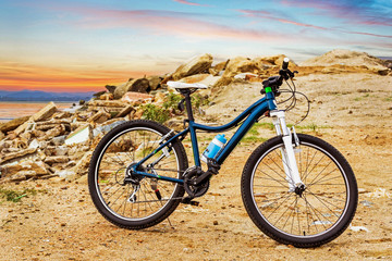 Bicycle at mountain beach