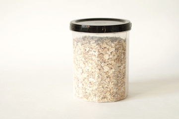 isolated photo of oat flakes. white background