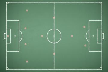 Green blackboard with soccer field