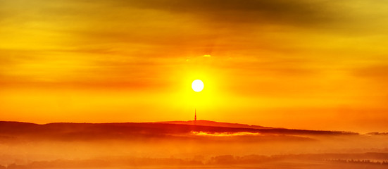 Sunrise and mountain Kamzik in Bratislava