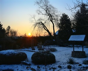 Foto op Canvas Bestsellers Sonnenuntergang im Winter mit Schnee