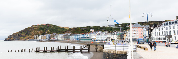 Skyline of Aberystwyth on he coast of  Pembrokeshire, in Wales, UK