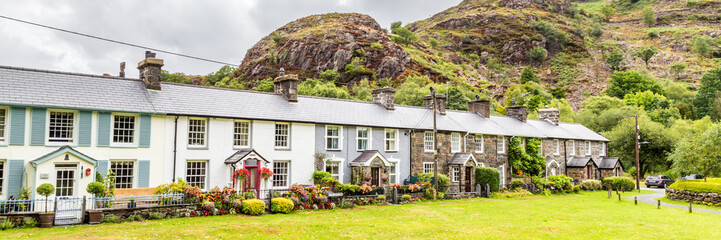 Tarditional stone cottages in Beddgelert in the heart of Smowdonia National Park in Gwynedd, Wales, UK