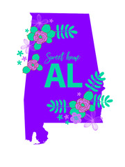 Alabama State Map Creative Vector Typography Lettering Composition with flowers. Design Concept