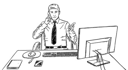 Sketch style doodle of businessman talking on mobile phone at his desk at work