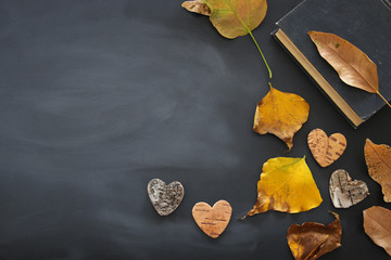top view image of dry autumn leaves and book over blackboard background.