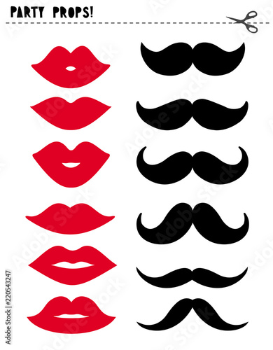 image about Printable Moustaches identified as Printable Vector Photograph Booth Props. Celebration Props Established. Unique