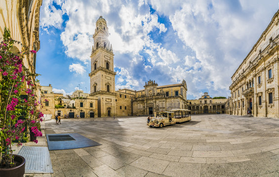 Lecce, Italy - Piazza del Duomo square and Virgin Mary Cathedral , Puglia region, southern Italy