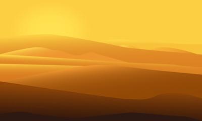 Desert landscape vector illustration with sun shining over sand dunes