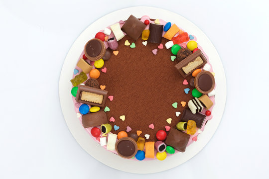 children's chocolate mousse cake top view