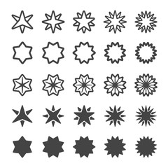 multi pointed star icon set