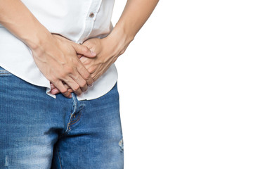 Male hands holding on middle crotch of trousers with prostate inflammation, Prostate cancer, Men's health care concept isolated on white.