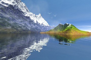 Snowy mountain, an alpine landscape, a small island in the lake, grass on the ground and birds in the sky.