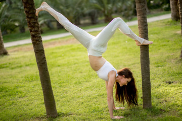 Handstand Yogi woman practicing yoga Downward facing Tree pose, working out, wearing Sportswear, full length. Park Trees