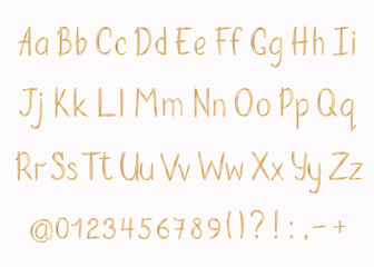 Golden alphabet in sketchy style. Vector handwritten pencil letters, numbers and punctuation marks. Gold pen handwriting font.