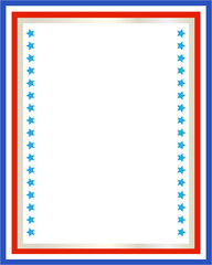 American patriotic border frame with USA flag symbols with blank space for your text and images.