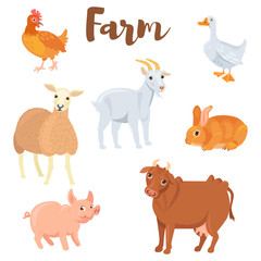 Farm animals set in flat style isolated on white background. ute animals collection. Vector illustration.