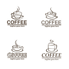 collection of coffee cup labels isolated on white background