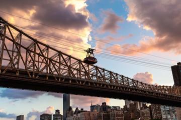New York City / USA - JUL 27 2018: Roosevelt Island tramway at sunset