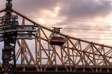 New York City / USA - JUL 27 2018: Roosevelt Island tramway at sunset