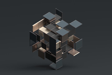 Abstract 3d rendering of geometric shapes. Composition with squares. Cube design. Modern background for poster, cover, branding, banner, placard. Wall mural