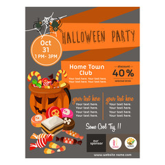 cute halloween poster with candy treats