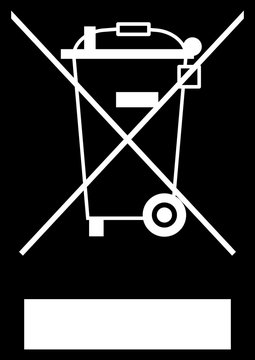 gz161 GrafikZeichnung - Directive - WEEE - waste electrical and electronic equipment - electrical parts marked with the WEEE-Symbol - white simple template - black background  - xxl A3 A4 g6552
