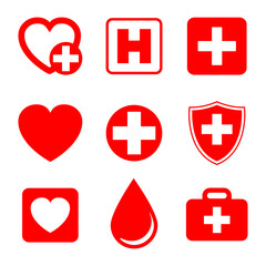 Set Medecine and Health flat icons. Collection health care medical sign icons – stock vector