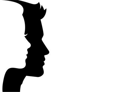 Man and woman silhouette face on face – stock vector