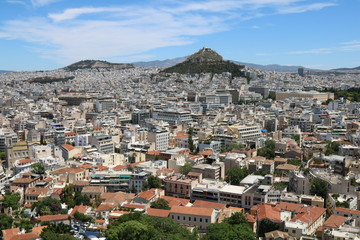 Overlooking the city of Athens, the capital of Greece