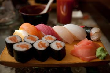 Tasty sushi in japanese restaraunt