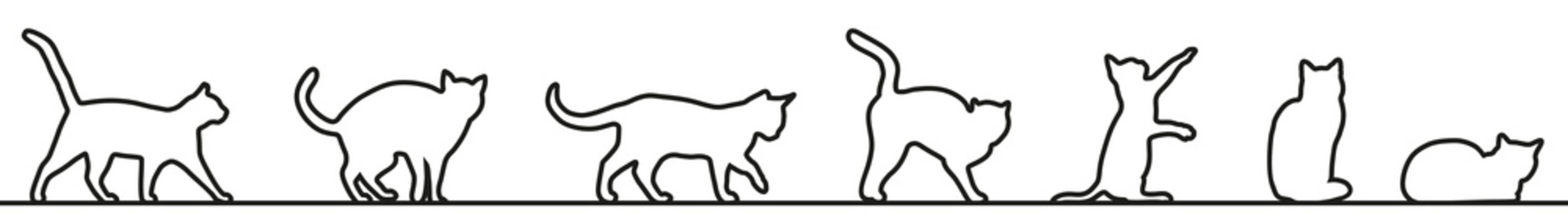 Cats silhouette collection one line – stock vector