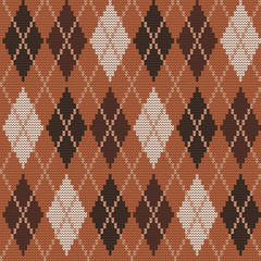 Seamless knitted pattern with rhombuses. Argyle print. Checkered background in brown, beige and black colors. Vector illustration