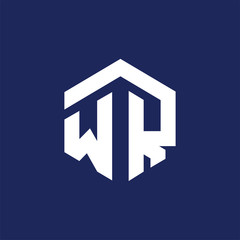 W R Initial letter hexagonal logo vector